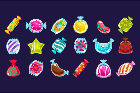 Collection of various colorful candies in glossy wrapper. Graphic design for computer or mobile game. Illustration