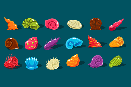 Cartoon set with shiny sea shells of different shapes and kinds. Colorful aquarium decor objects.