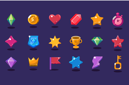 Set of various items for gaming interface. Crystal, coin, heart, star, stopwatch, shield, trophy, crown, flag, lightning, key. Design elements for mobile arcade and casual games Flat vector icons