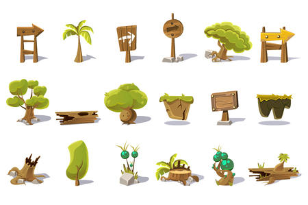 Cartoon set of nature elements for mobile or computer game. Palm, green trees, stump, old woods, pointers with arrows, plot of land, plants, stones. Gaming interface. Isolated flat vector illustration Ilustrace