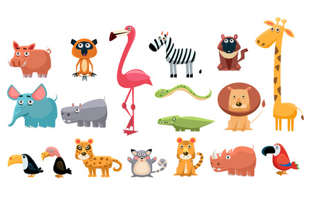 Set of colorful funny animals cartoon illustration.