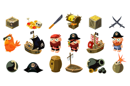 Cartoon pirate icons set. Mobile game assets. Captain, freebooter, parrot, sailboat, treasure chest, gold, skull, crossed daggers, spyglass, sword hat bomb Flat vector design isolated on white