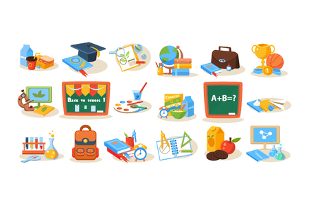 Set of colorful school objects for education concept illustration.