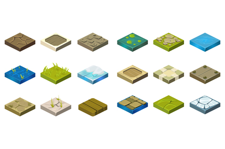 Set of isometric landscape tiles with different surfaces cartoon illustration.