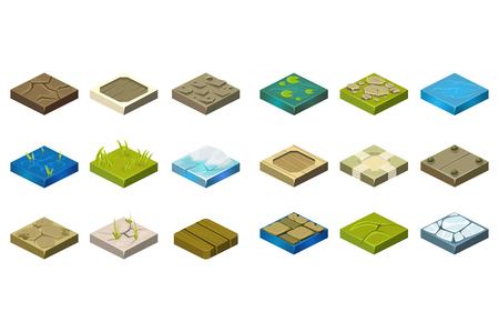 Grupo de telhas isométricas da paisagem com ilustração diferente dos desenhos animados das superfícies.