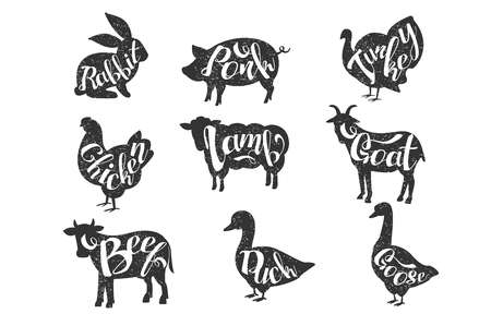 Set of vintage  labels with silhouettes of animals with lettering. Vettoriali