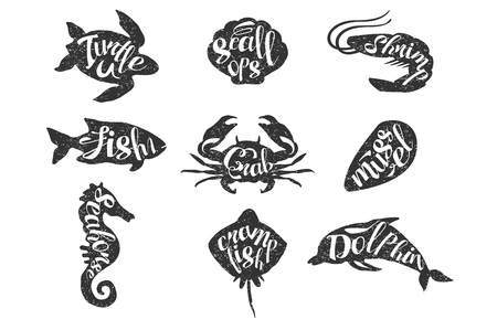Set of vintage hand drawn sea animals with lettering. Stock Illustratie