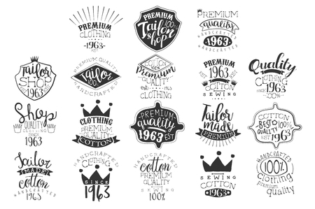 Vector set of monochrome emblems for fashion boutique or handmade clothing shop. Vintage labels. Design for ads, packaging, signboard or branding identity