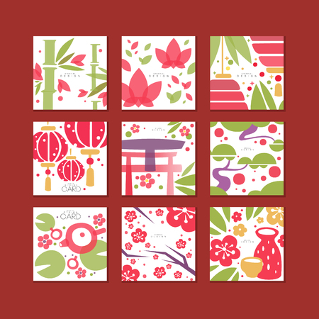 Cards with traditional asian pattern, original design, decorative template texture colorful vector illustrations, web design. Stok Fotoğraf - 94982573