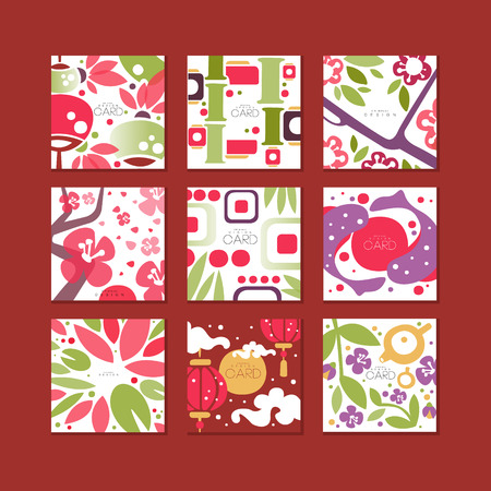 Traditional asian pattern cards, original design, decorative template texture colorful vector illustrations, web design