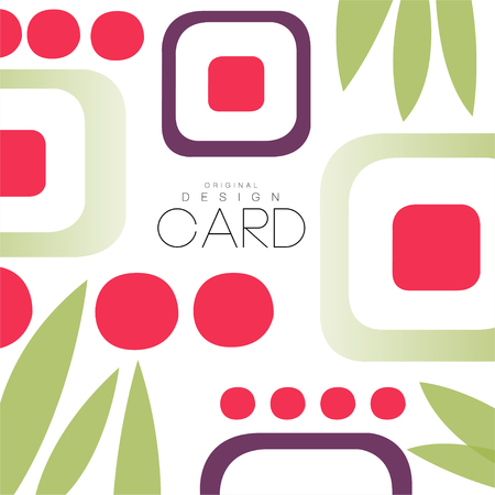 Card with asian pattern, sushi and leaves, original design, decorative element colorful vector illustration, web design