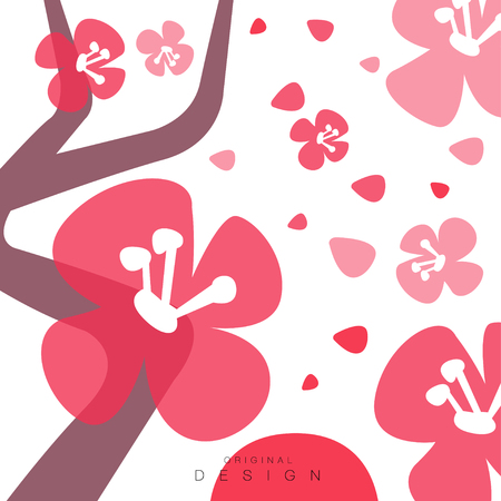 Blooming sakura, card with traditional asian pattern, original design, decorative element colorful vector illustration, web design