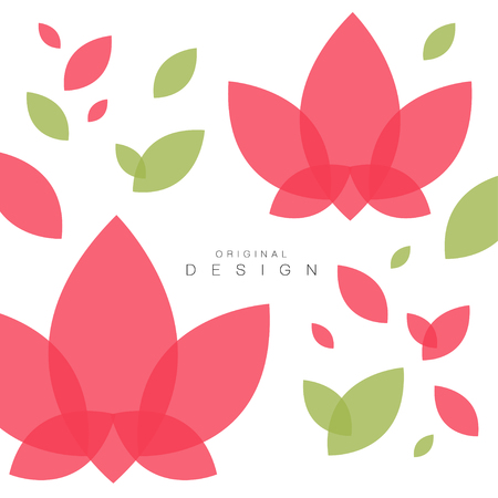 Lotus flowers and leaves, card with traditional asian pattern, original design, decorative element colorful vector illustration, web design