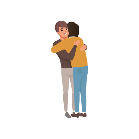 Couple of young men standing together and hugging, close friends embracing and smiling vector Illustration