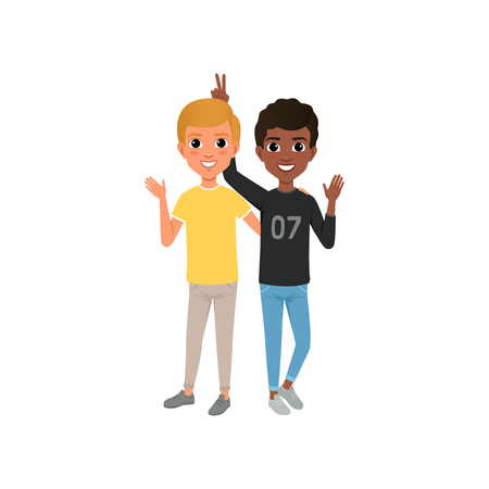 Two friends having fun, happy teenagers friendly hugging vector Illustration isolated on a white background Ilustração