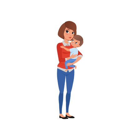 Mother holding her child on hands and embracing, happy mom and her son vector Illustration isolated on a white background