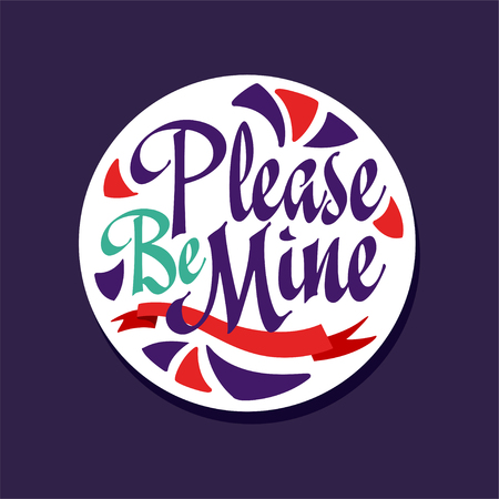 Please be mine poster with romantic phrase, Valentines Day card colorful vector illustration on a dark blue background 向量圖像