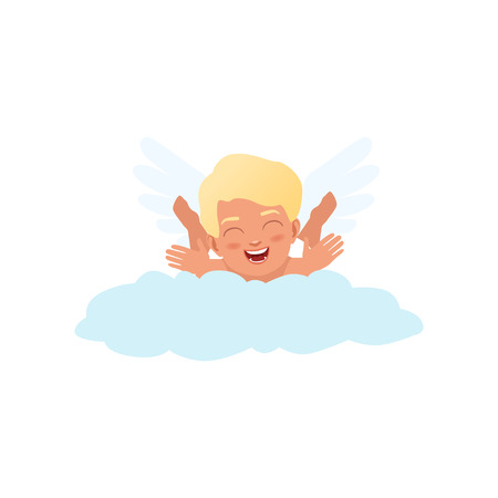 Baby Cupid character playfully lying on a cloud, Happy Valentines Day concept vector Illustration Illustration
