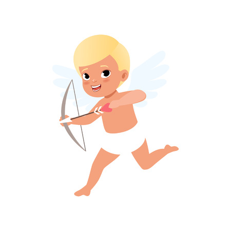 Cute blonde baby Cupid character shooting a bow, Happy Valentines Day concept vector Illustration Illustration