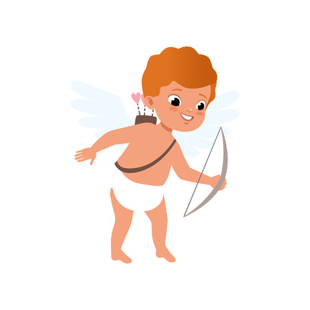 Redhead baby Cupid character shooting a bow, Happy Valentines Day concept vector Illustration  イラスト・ベクター素材