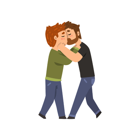 Couple of gay men embracing and kissing, lgbt men in love cartoon vector Illustration Vettoriali