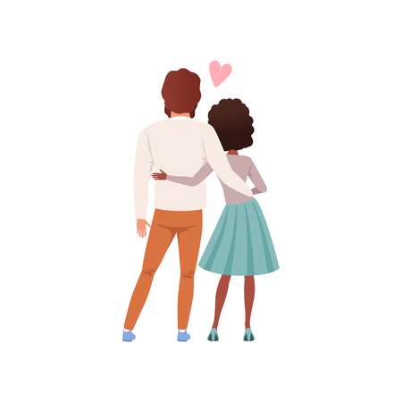 Young man and woman characters standing embracing back view, happy romantic couple in love cartoon vector Illustration on a white background Illustration