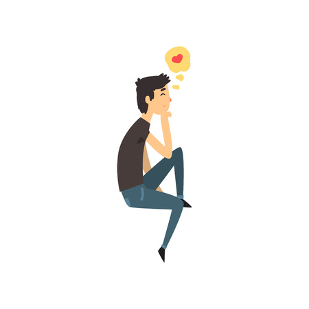 Young man character dreaming about the girlfriend he love, Happy Valentines Day concept cartoon vector Illustration isolated on a white background