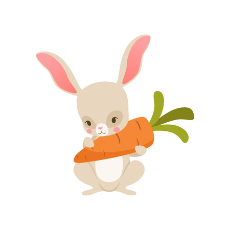Cute cartoon bunny nolding carrot, funny rabbit character, Happy Easter concept cartoon vector Illustration on a white background Illustration