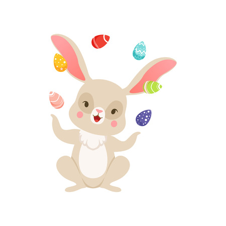 Cute cartoon bunny juggling with colored eggs, funny rabbit character, Happy Easter concept cartoon vector Illustration on a white background Illustration