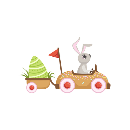 Cute little bunny driving car with green egg, funny rabbit character, Happy Easter concept cartoon vector Illustration