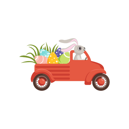 Cute little bunny driving vintage truck with colored eggs, funny rabbit character, Happy Easter concept cartoon vector Illustration