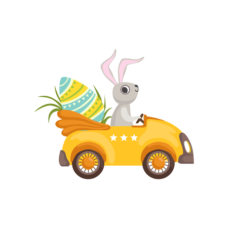 Cute bunny driving yellow vintage car decorated with Easter eggs, funny rabbit character, Happy Easter concept cartoon vector Illustration