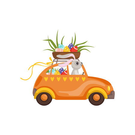 Little bunny driving vintage car with Easter eggs basket, funny rabbit character, Happy Easter concept cartoon vector Illustration