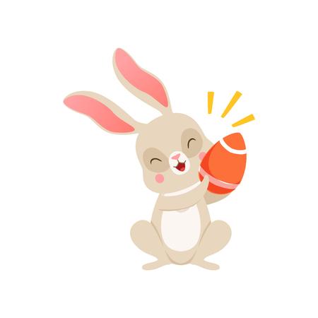 Cute cartoon bunny with egg, funny rabbit character, Happy Easter concept cartoon vector Illustration