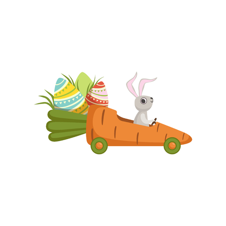 Cute little bunny driving car carrot, funny rabbit character, Happy Easter concept cartoon vector Illustration