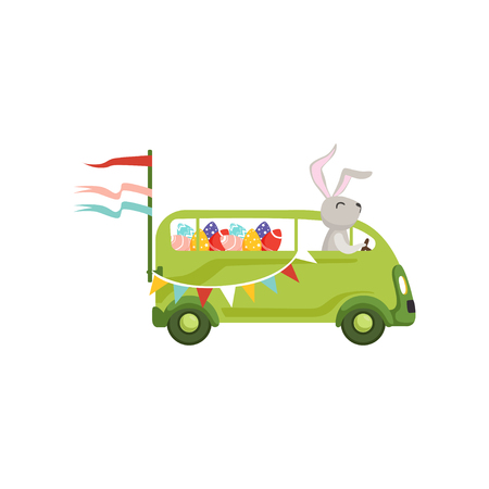 Cute little bunny driving vintage van car with colored eggs, funny rabbit character, Happy Easter concept cartoon vector Illustration