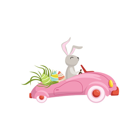 Cute bunny driving pink vintage car decorated with Easter eggs, funny rabbit character, Happy Easter concept cartoon vector Illustration