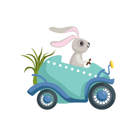 Cute little bunny driving Easter blue car egg, funny rabbit character, Happy Easter concept cartoon vector Illustration Illustration