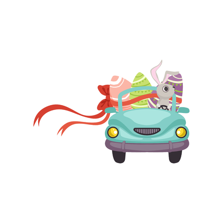 Cute bunny driving blue vintage car decorated with Easter eggs, funny rabbit character, Happy Easter concept cartoon vector Illustration Illustration