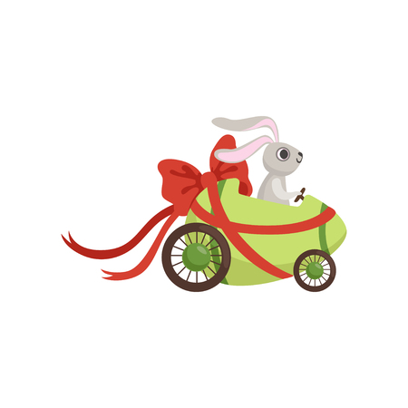 Cute little bunny driving Easter green car egg decorated with red bow, funny rabbit character, Happy Easter concept cartoon vector Illustration