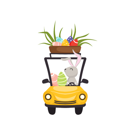 Cute bunny driving yellow vintage car with basket full of eggs vector illustration