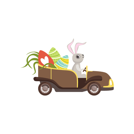 Cute bunny driving vintage car decorated with Easter eggs vector illustration