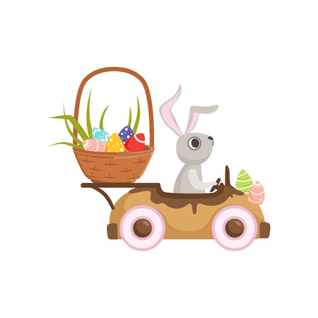 Cute little bunny driving vintage car with Easter eggs basket vector illustration