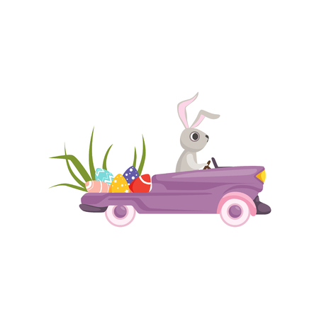 Cute bunny driving violet vintage car decorated with Easter eggs, funny rabbit character, Happy Easter concept cartoon vector Illustration