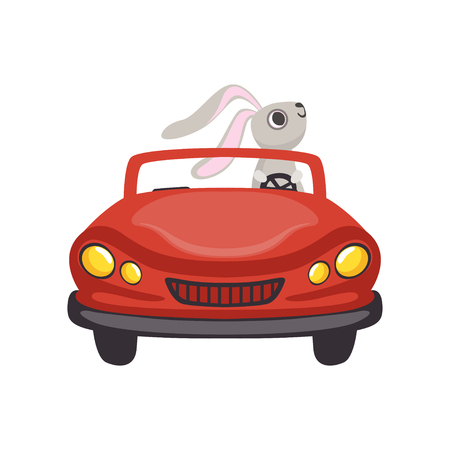 Cute little bunny driving vintage red car, funny rabbit character, Happy Easter concept cartoon vector Illustration