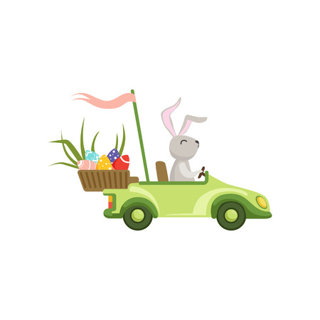 Cute bunny driving green vintage car with Easter eggs basket, funny rabbit character, Happy Easter concept cartoon vector Illustration