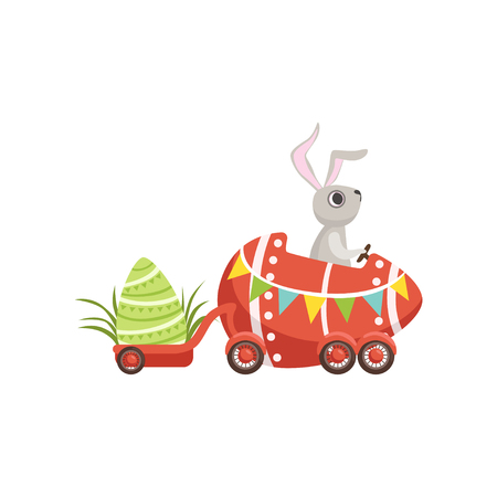 Cute little bunny driving Easter red car egg, funny rabbit character, Happy Easter concept cartoon vector Illustration