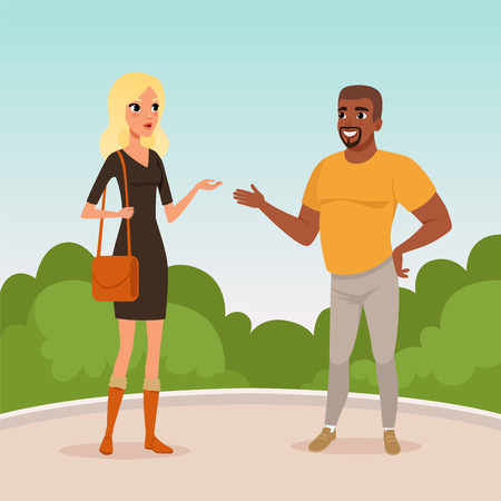 Young blond woman and bearded afro-american man standing in park and having conversation. Cartoon people characters talking outdoors. Blue sky and green bushes on background. Flat vector illustration. Çizim