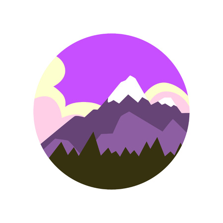 Colored natural landscape pine forest and big mountain with snowy peak. Beautiful purple-white sky on background. Vector for company focused on ecology Çizim