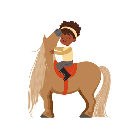 Lovely African American little girl riding pony horse, childrens equestrian sport vector Illustration